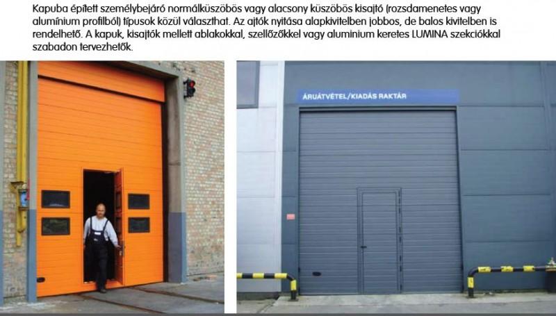 DITEC iparikapu Ipari kapu ablakokkal és személyi közlekedő ajtóval
